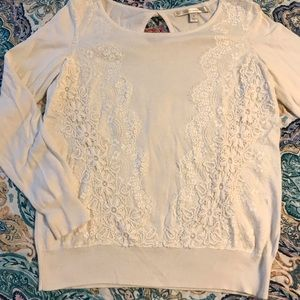 🎀 White Lauren Conrad Sweater With Lace Detail 🎀